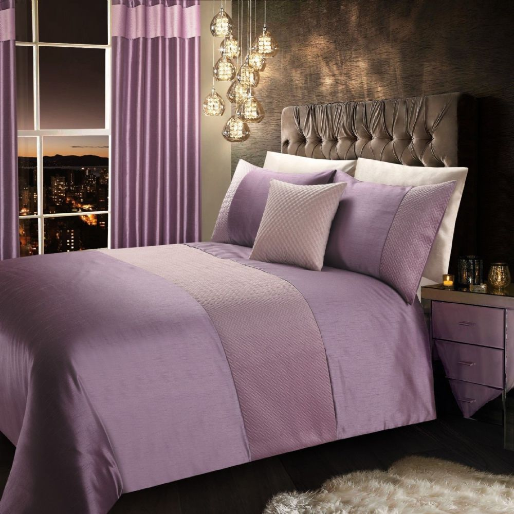 MAUVE LILAC STYLISH QUILTED VELVET LUXURY DUVET COVER BEAUTIFUL MODERN BEDDING